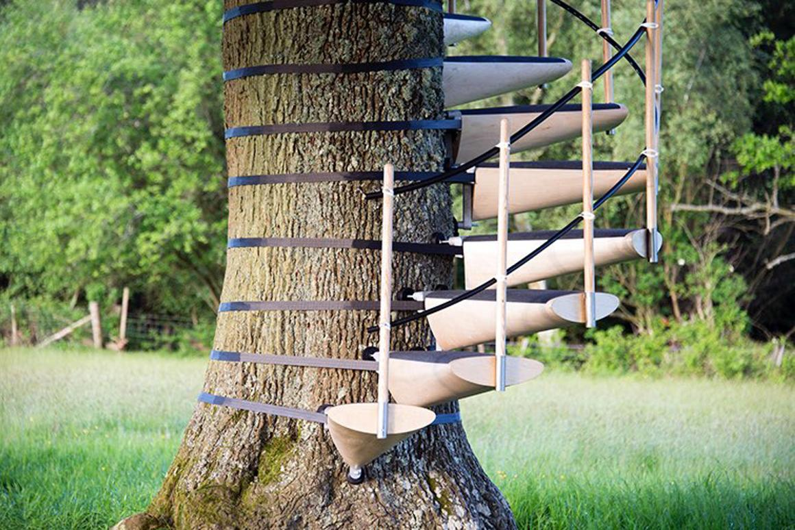 CanopyStair is a modular system for attaching a staircase to the trunk of a tree