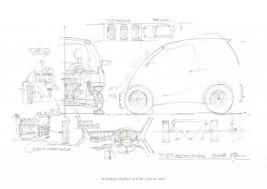 The T.25, so called because it is Murray's 25th design, is expected to get between 60-70 miles per gallon, mainly due to being roughly half the size of the average vehicle.
