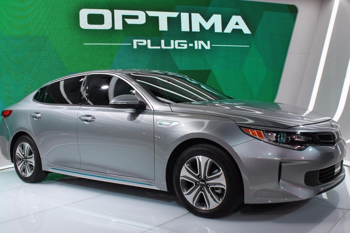 Kia's new Optima Plug-in Hybrid on display at the Chicago Auto Show