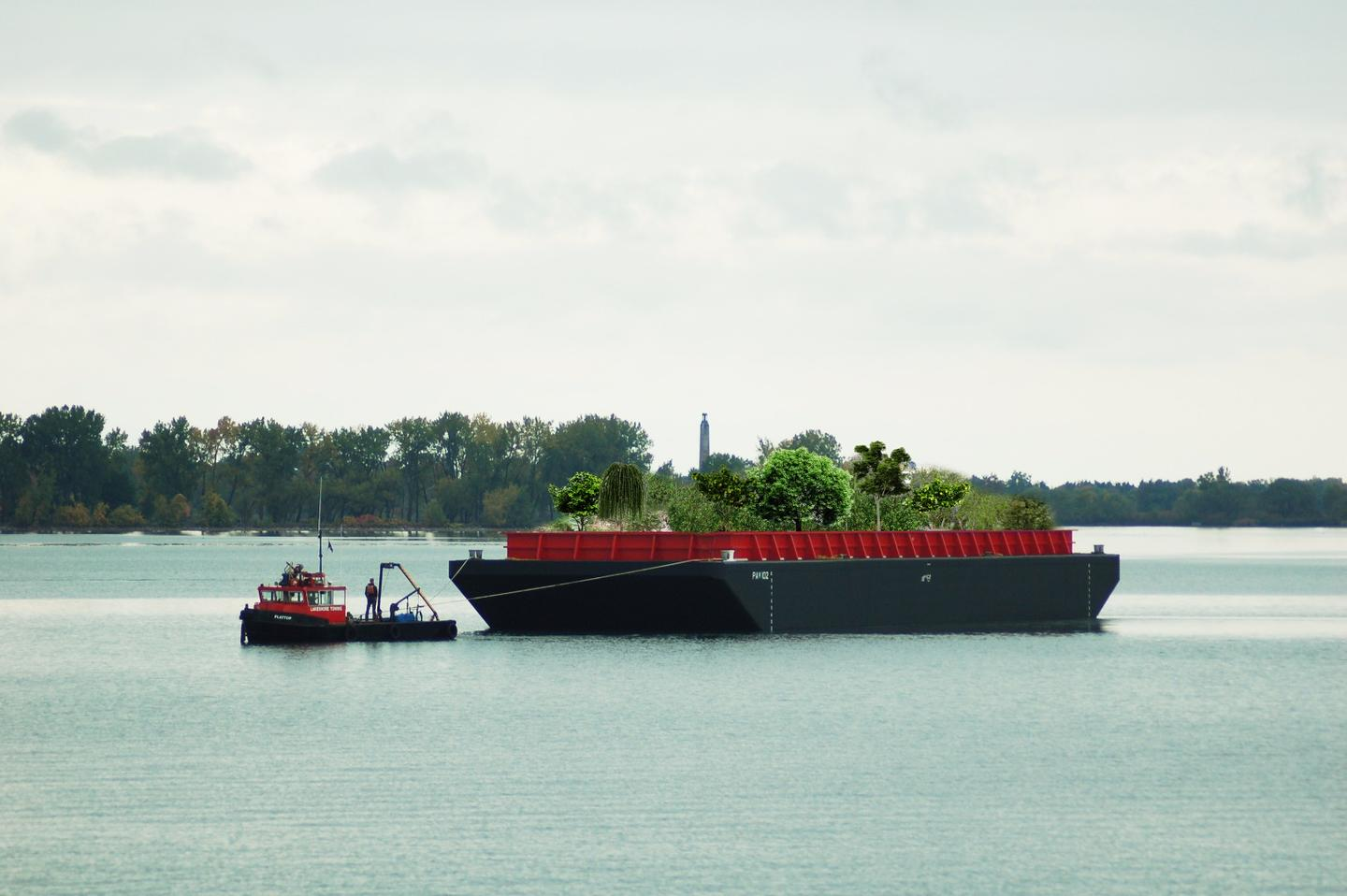The Swale farm is being installed on a 30 x 100-ft (9.1 x 30.5-m) flat deck barge