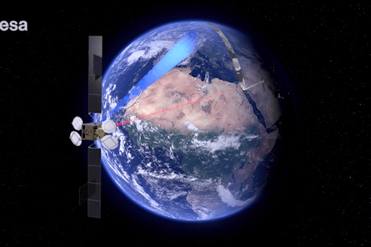 The Space Data Highway, also known as the European Data Relay System (EDRS), allows for faster relaying of data from the Sentinel-1A satellite (ESA)