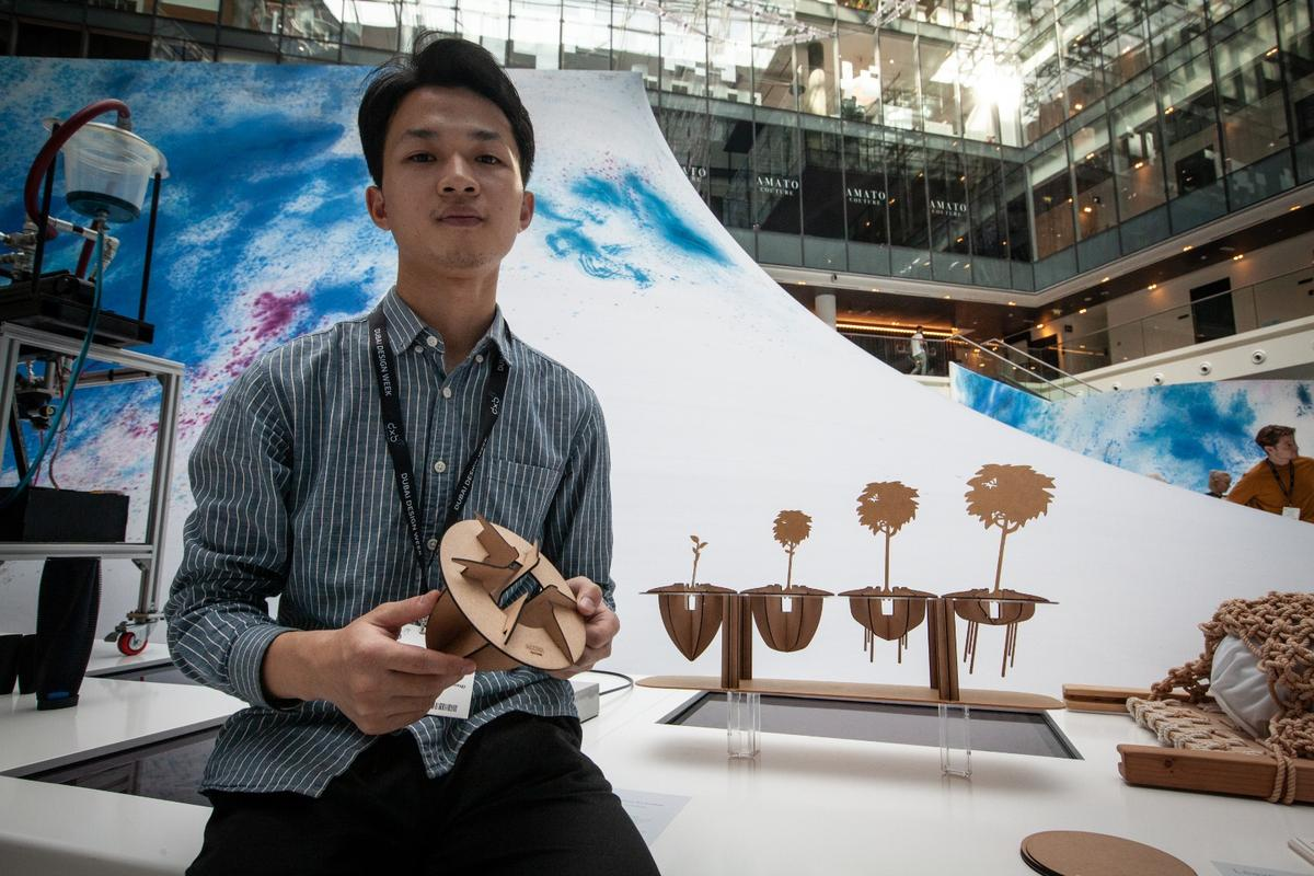 Zhang Liye from China's Huazhong University of Science and Technology designed Acorn, an entirely biodegradeable base made from raw materials gathered from crop waste, fashioned into frames to raise plants in the desert