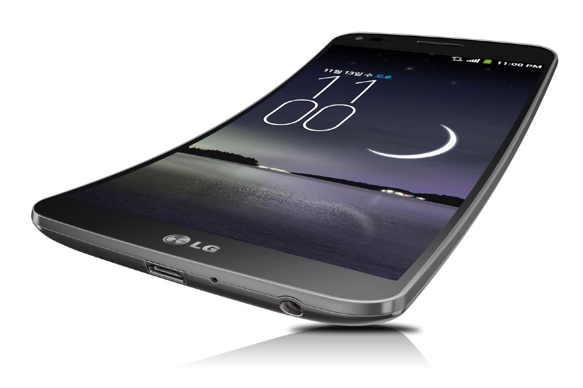 LG's G Flex smartphone display follows the contour of the face