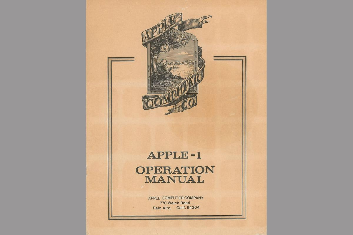 The Apple-1 manual ip for auctionfeatures the very first – and very temporary – logo for the company, depicting Sir Isaac Newton sitting under an apple tree