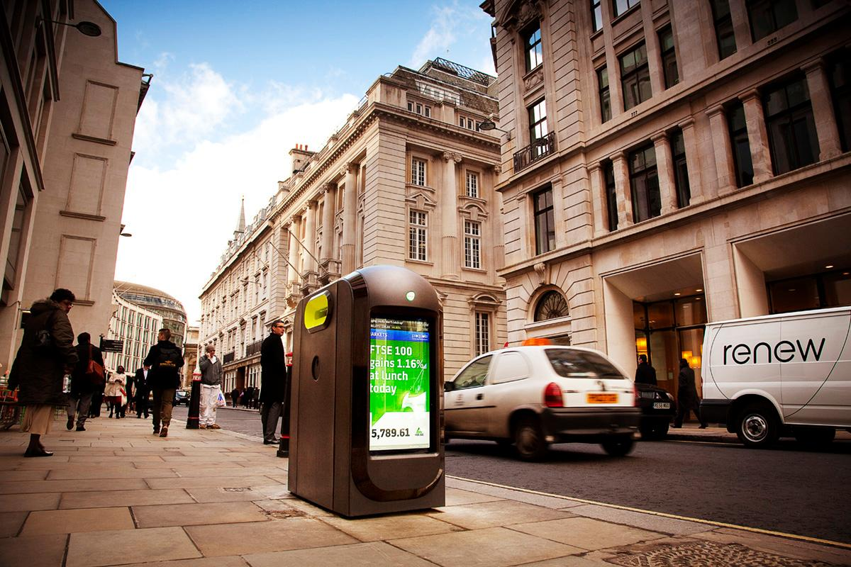 The City of London has contracted Renew to tackle the problem of litter caused by discarded free newspapers - its solution is a network of recycling bins featuring 32-inch LCD screens displaying daily news and weather