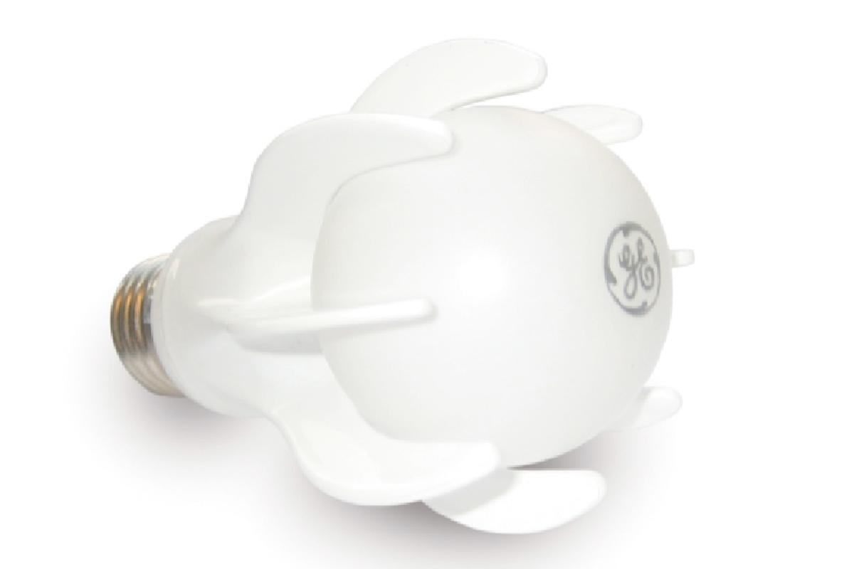 The GE Energy Smart LED bulb that has the equivalent lumens output of a 40W incandescent bulb but only uses 9W and lasts 25 times longer