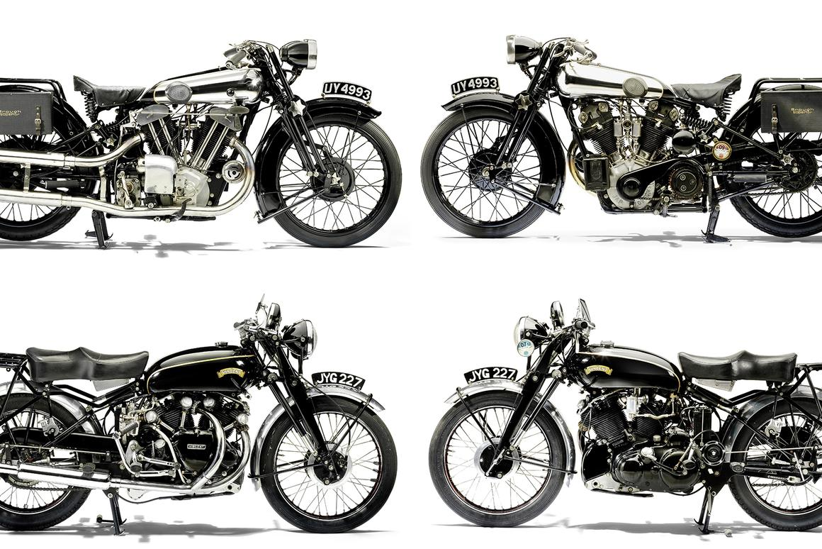 Bonhams' estimates the 1929 Brough Superior Alpine Grand Sports (top two) will fetch between £270,000 (US$435,240) and £320,000 (US$515,840), while the 998cc Series C Vincent Black Shadow (bottom two) will fetch between £70,000 (US$112,840) and £90,000 (US$145,080)