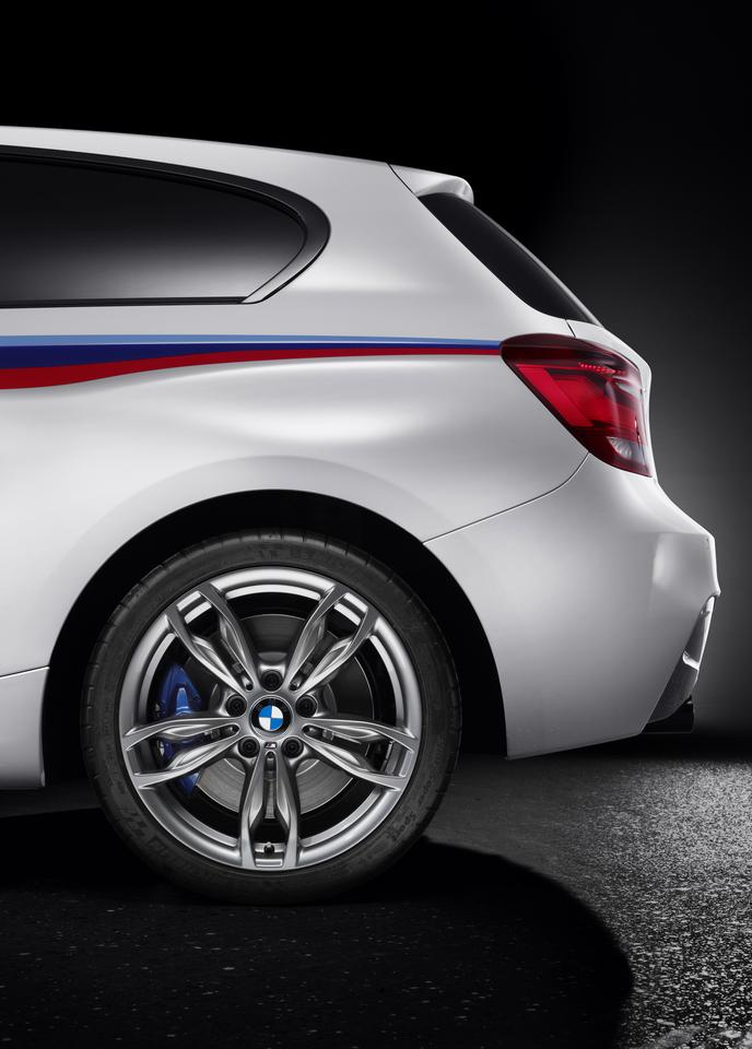 The M135i has light alloy wheels