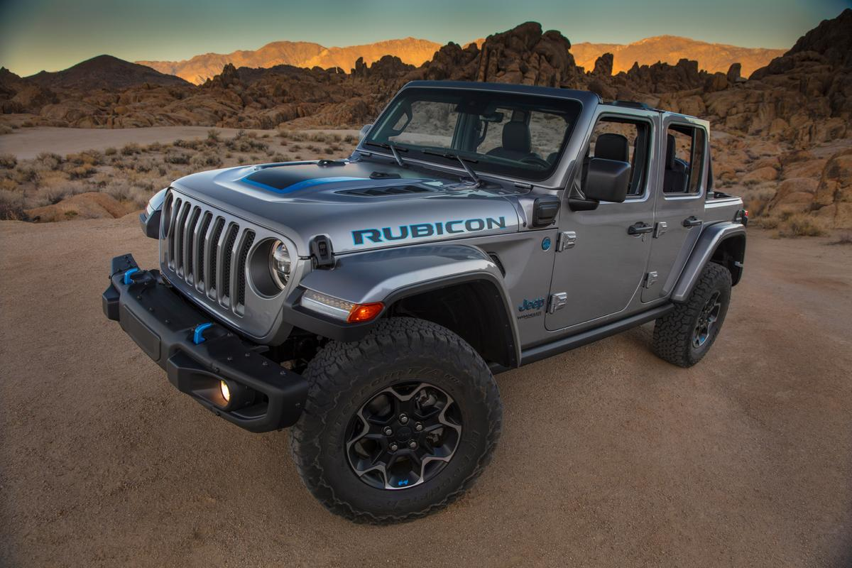 The 2021 Jeep Wrangler Rubicon 4xe is indistinguishable from other Rubicon models except for the electric blue details