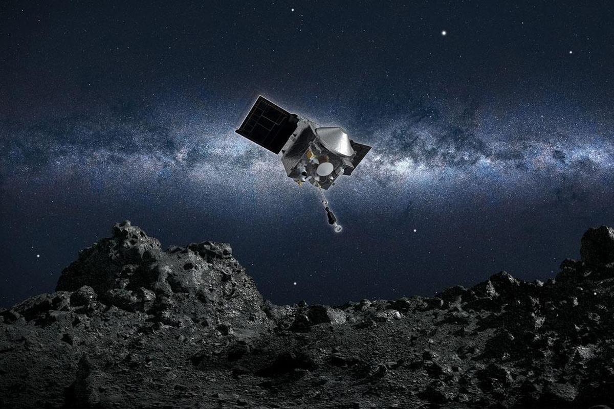 Artist's concept of OSIRIS-REx approaching Bennu for Touch-And-Go (TAG) maneuver