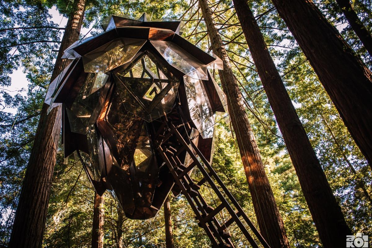 The Pinecone Treehouse is attached to the trees at a height of around 60 ft (15 m) above the ground