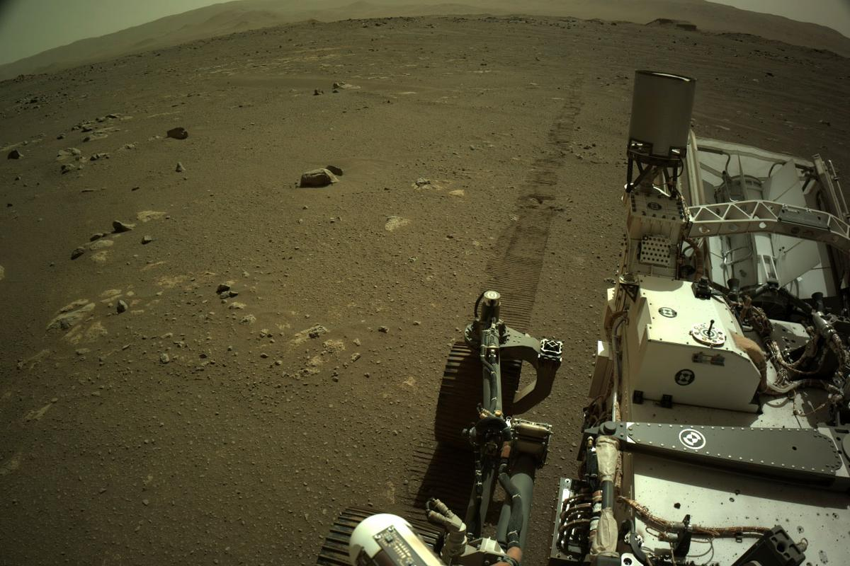 A photo snapped by the Perseverance rover on March 7, as it began to drive – which has now been recorded in audio for the first time
