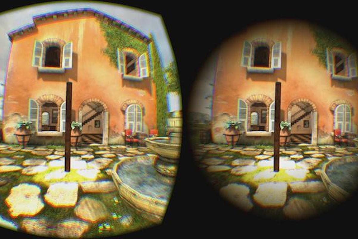 On the left is the standard view from one eye of an Oculus Rift headset, and on the right is the view with a gradual field of view restrictor in place, which is designed to decrease motion sickness in VR