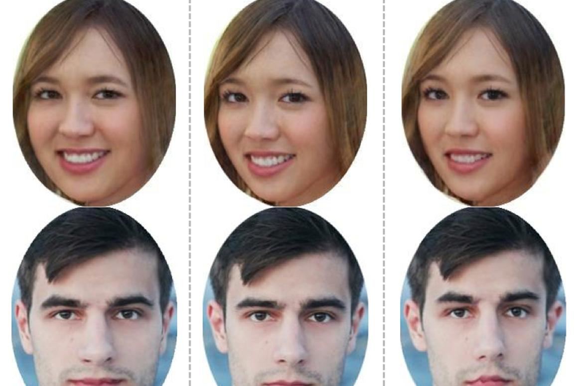Software developed at MIT subtly alters photos to make faces either more (right) or less (left) memorable (Image: MIT CSAIL)