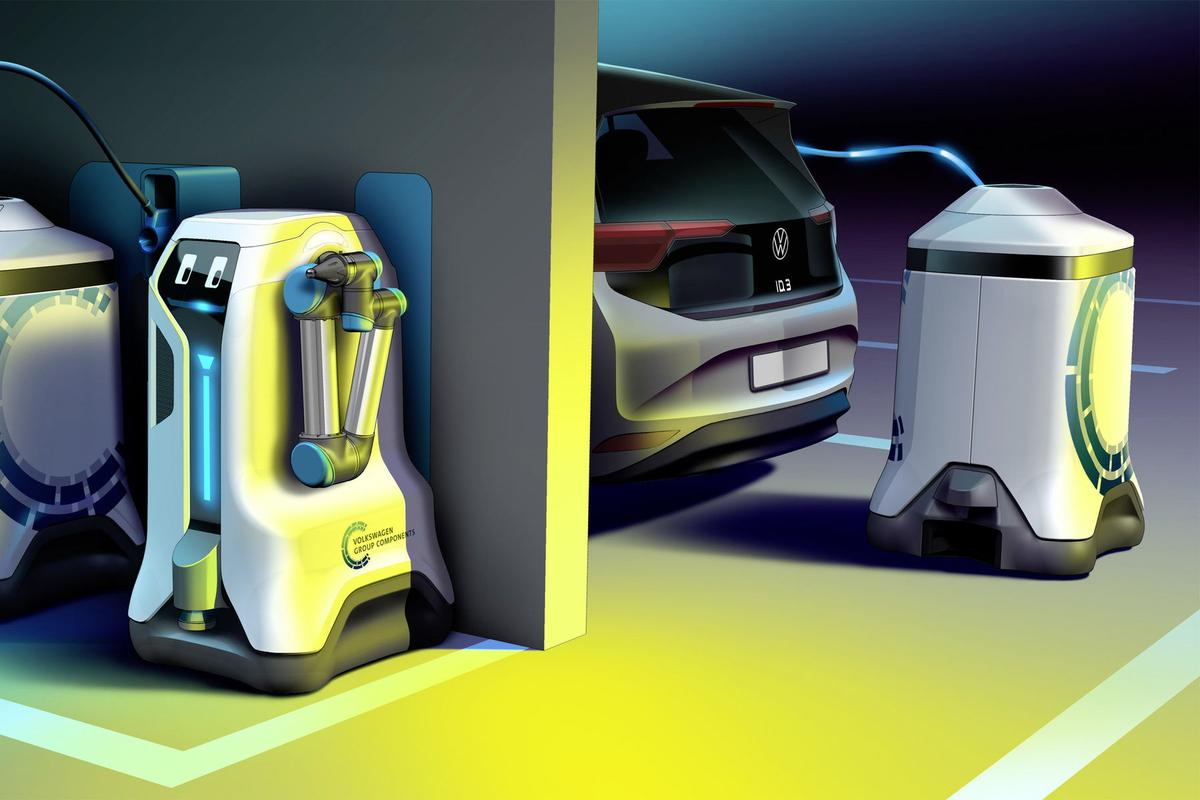 Volkswagen's mobile charging robot brings the battery to the EV