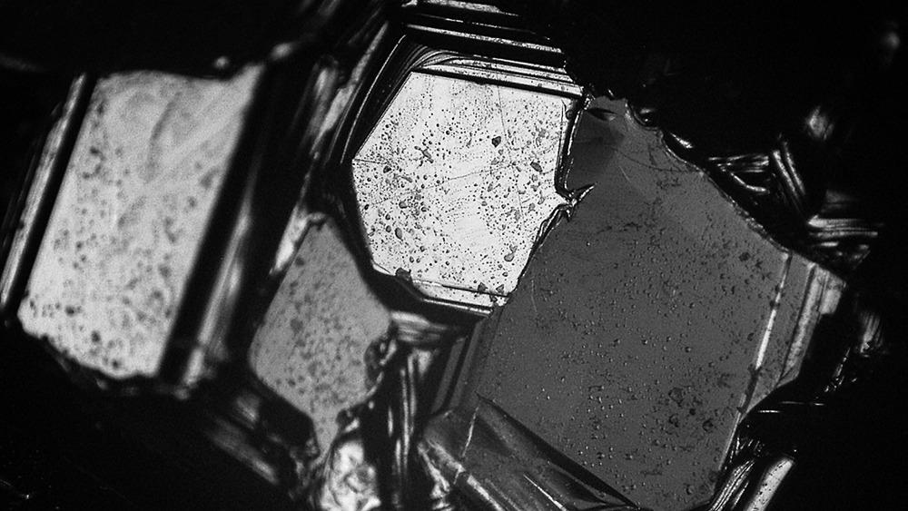 Close-up view of boron carbide crystals, which engineers modified with silicon to create a stronger armor material