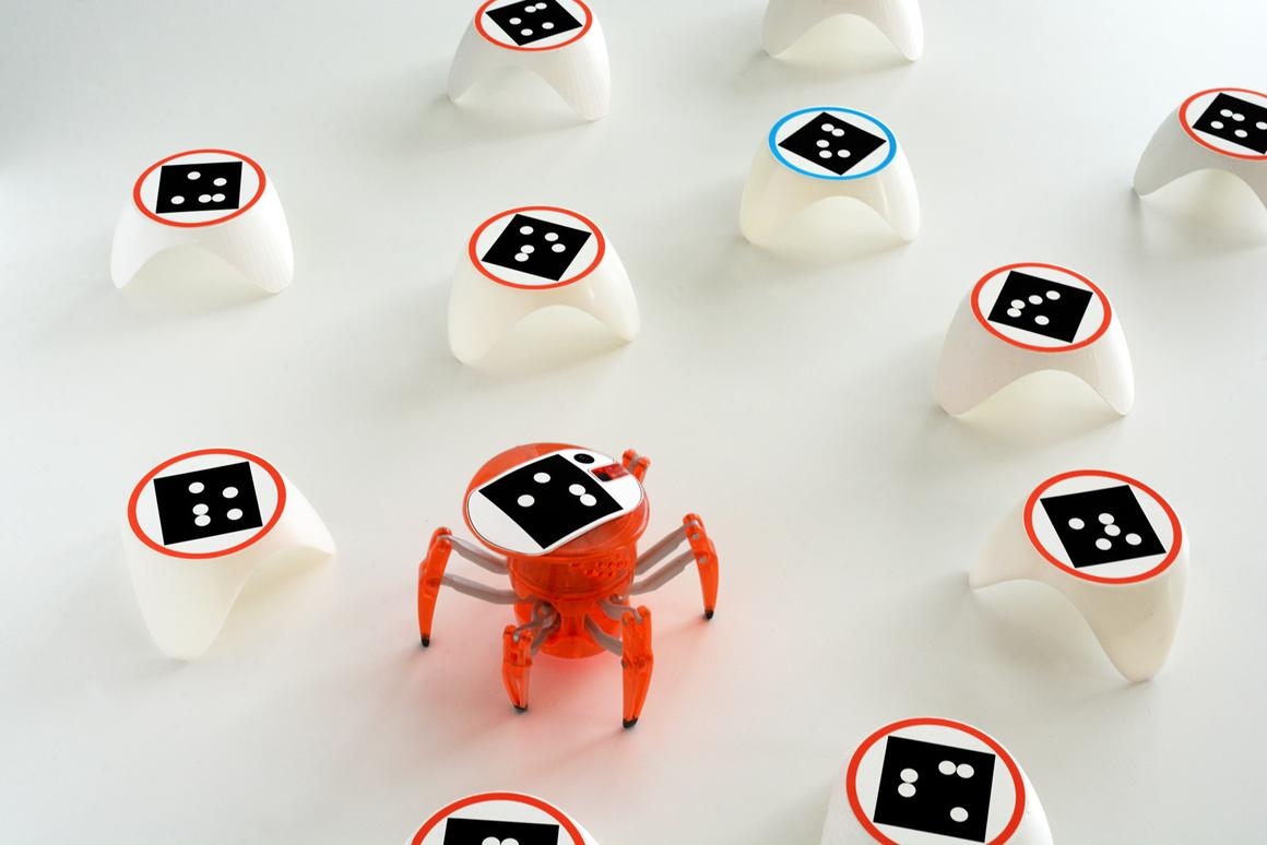 The bots_alive kit lends an air of AI and augmented reality to a basic Hexbug Spider robot