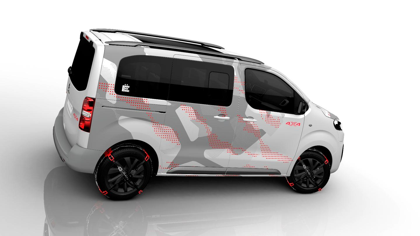 The all-new SpaceTourer 4X4 Ë Concept has a gray camo/red accents on white look