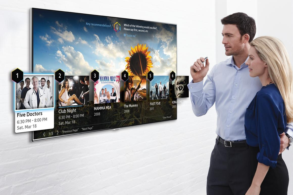 "Samsung's 2014 Smart TVs will debut at CES 2014 with improved voice commands and ""finger gesture"" controls"
