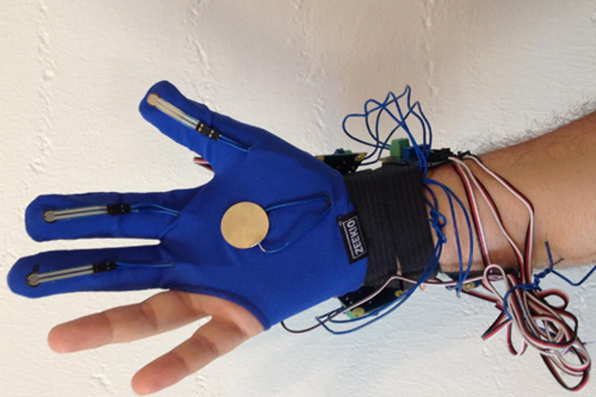 Med Sensation's Glove Tricorder is outfitted with numerous sensors to detect breast cancer and other internal medical problems when placed on different areas of the body