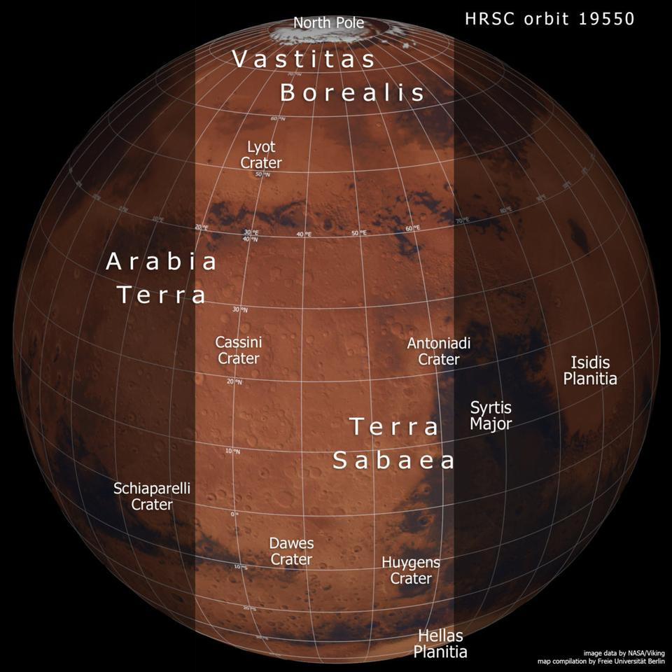 An annotated image of Mars showing prominent regions, and highlighting the region covered in the new mosaic