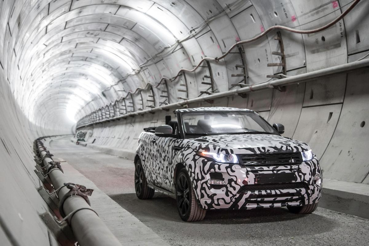 The camouflaged prototype stretches its legs