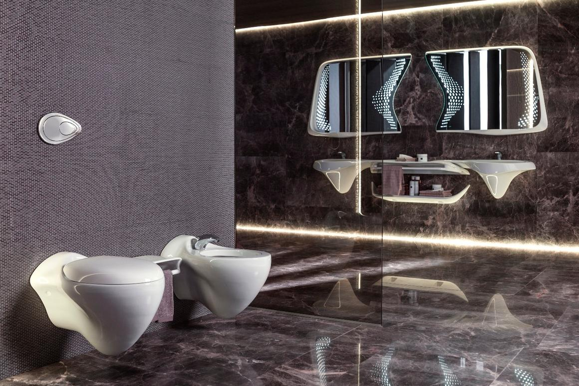 The Vitae line comprises nine high-end bathroom pieces which are meant to evoke water flow – anatural fit for Hadid's style