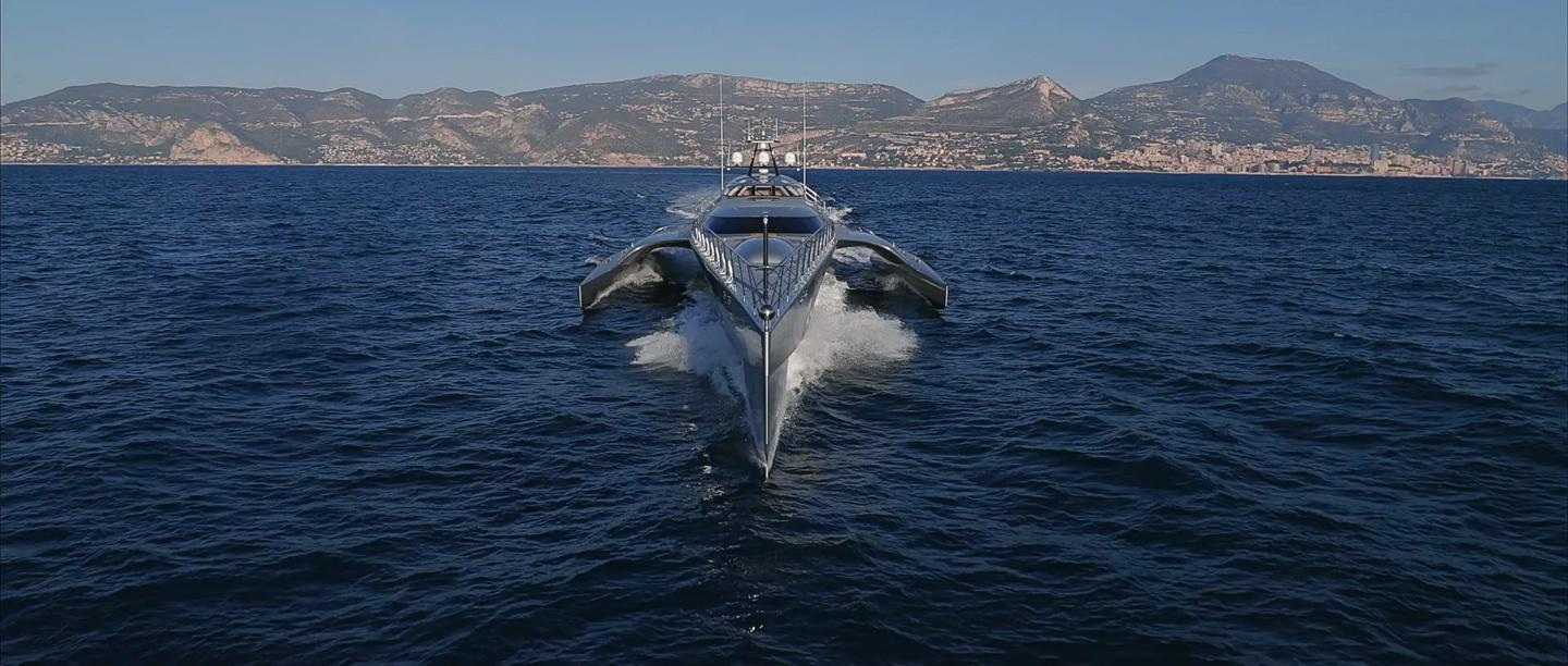Yacht de Luxe's Jean-Jacques Coste specializes in multihull designs, like the hybrid-powered 174-foot (53-m) trimaran pictured