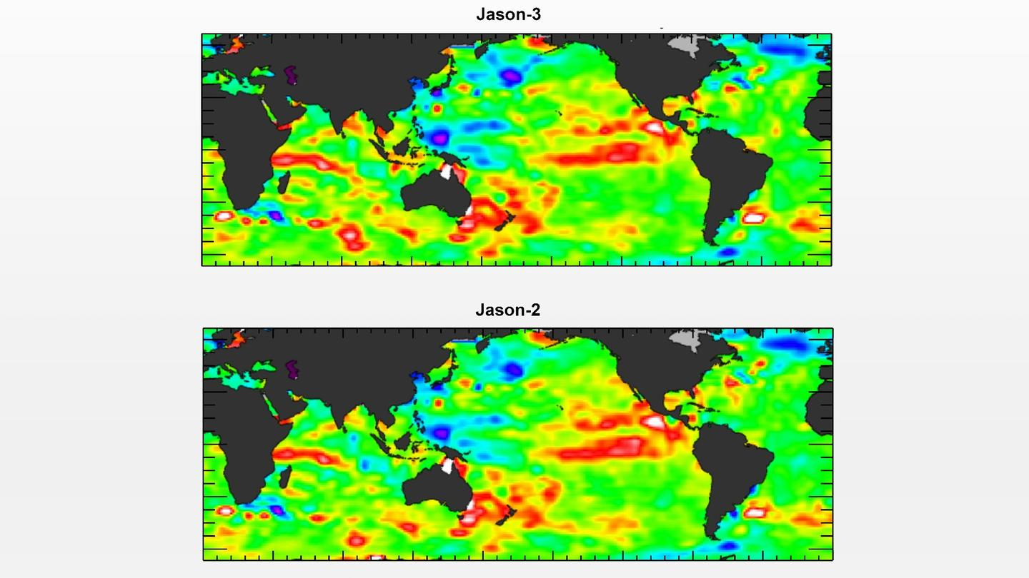The Jason-3 readings compare favorably with the Jason-2 satellite data, indicating that the probe is working as intended. Higher than normal sea levels are shown in red, while El Nino can be seen in the eastern equatorial Pacific