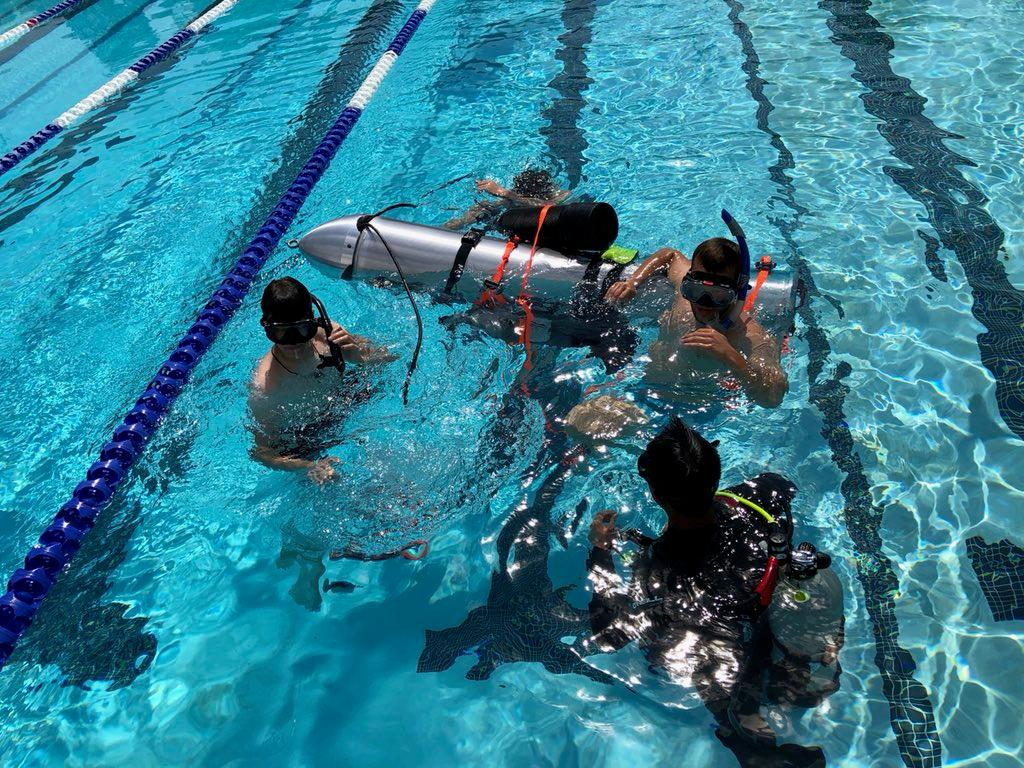 The mini submarine built to rescue the boys trapped in a Thai cave undergoes testing in an LA pool