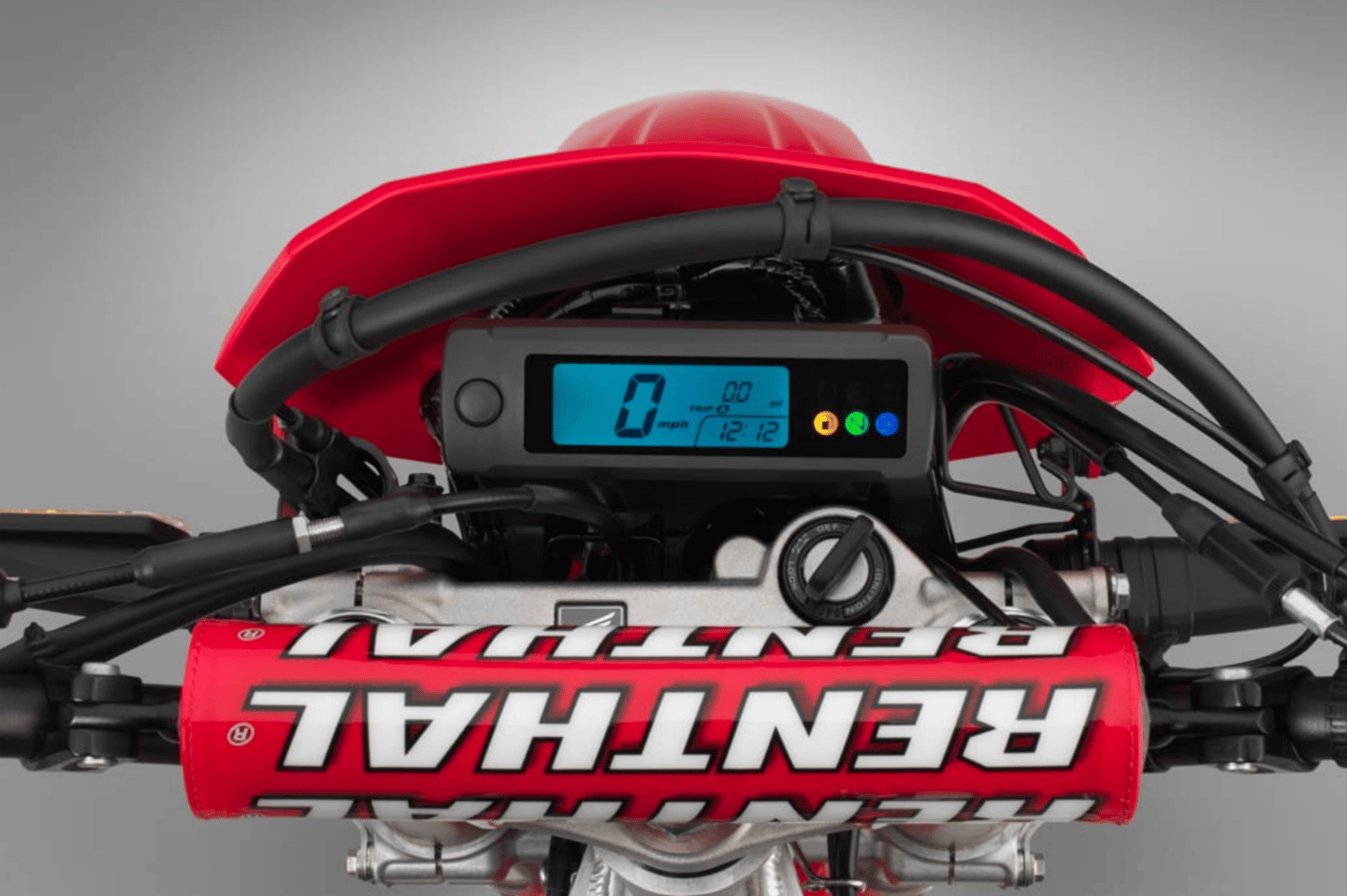 2019 Honda CRF450L: simple dash and keyed ignition with steering lock
