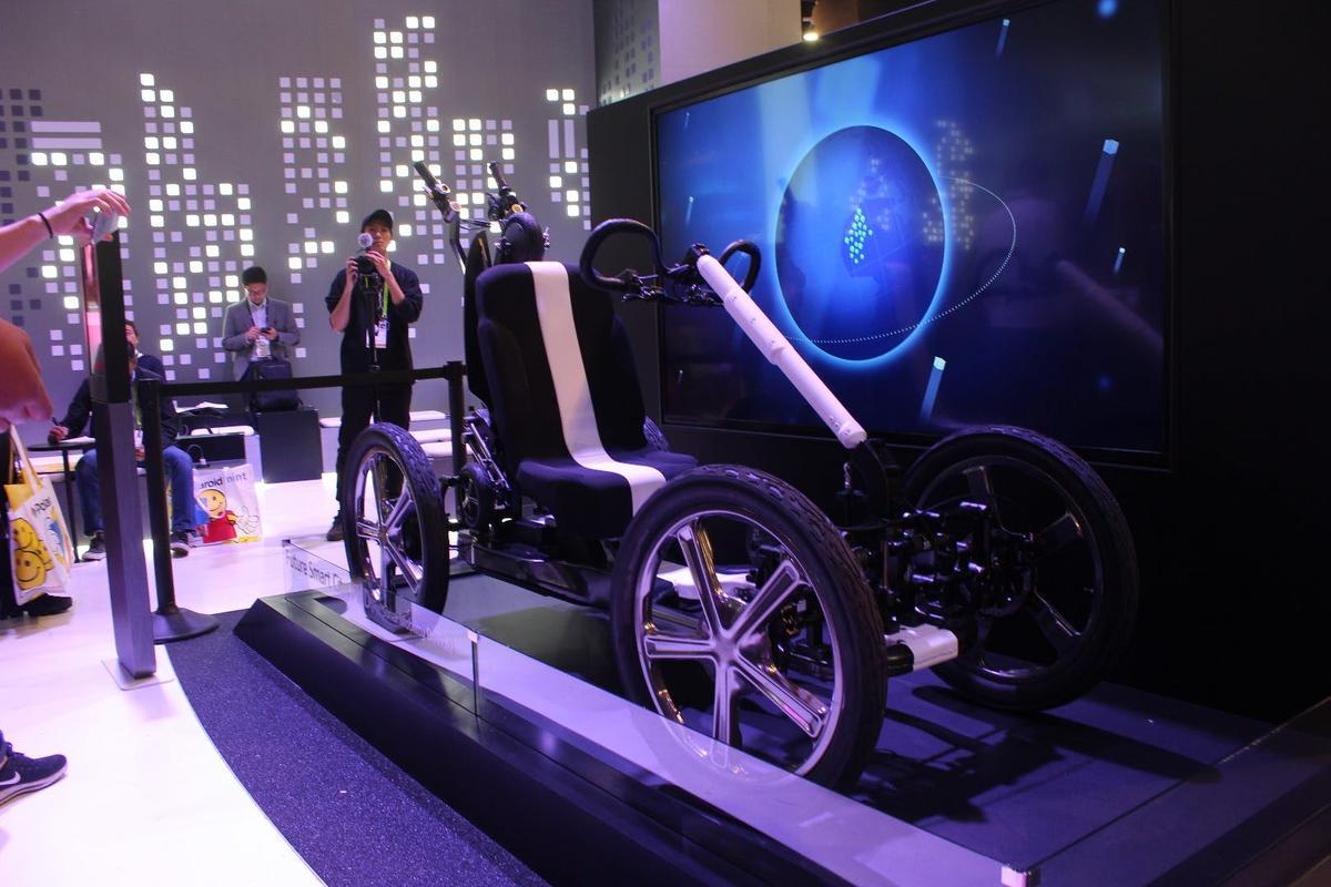The SEED Car prototype on display in Las Vegas