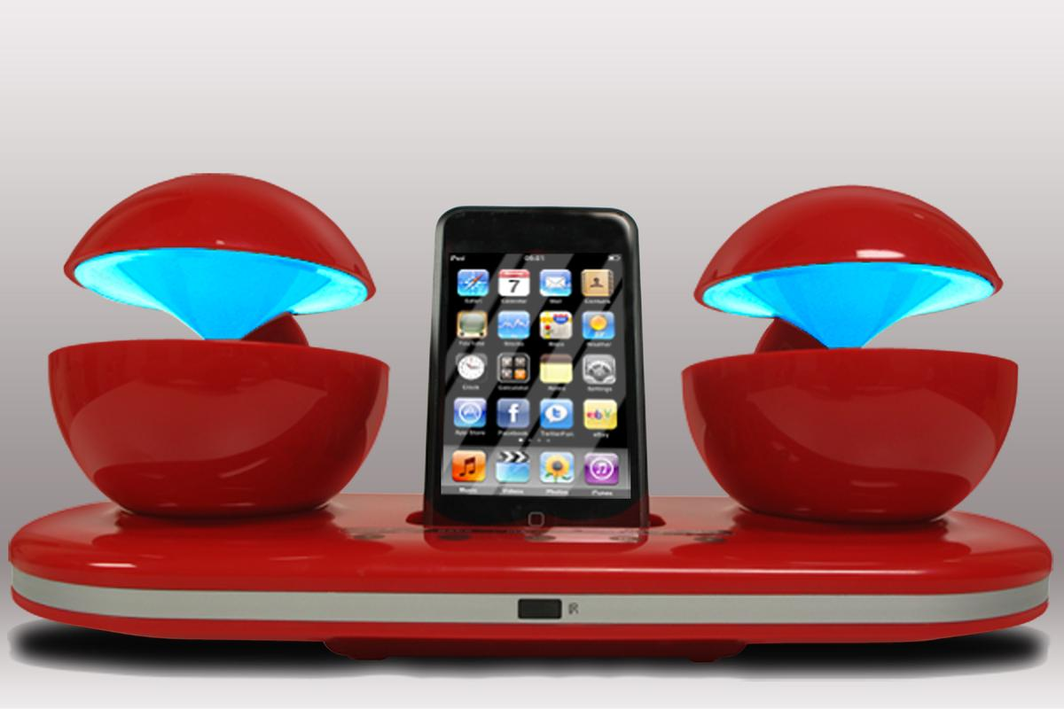 The Speakal iCrystal iPod docking station features illuminated spheres and portable functionality