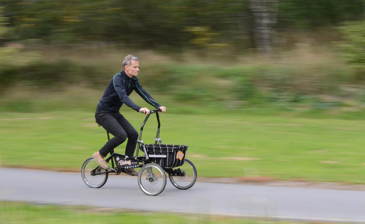 "Inventor Göran Durgé pedals the Tricksy in ""trike"" mode"