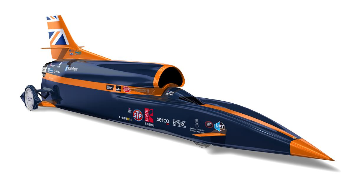 The BLOODHOUND SSC hopes to reach speeds of more than 1,000 mph (1,610 km/h) in 2015 with its 3D-printed nose tip