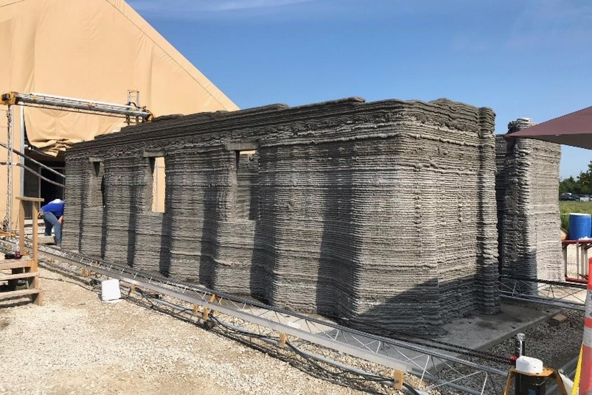 US Marine Corps Systems Command used a 3D printer to construct a prototype concrete barracks measuring 500 sq ft (46 sq m) in just 40 hours