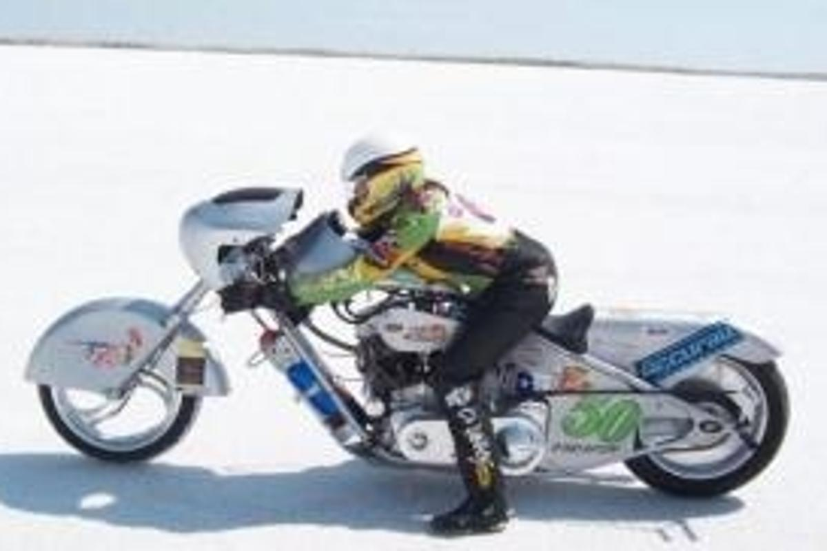 Valerie Thompson took her Panhead Harley to a land speed record of 161mph earlier this week at Utah's Bonneville salt flats.