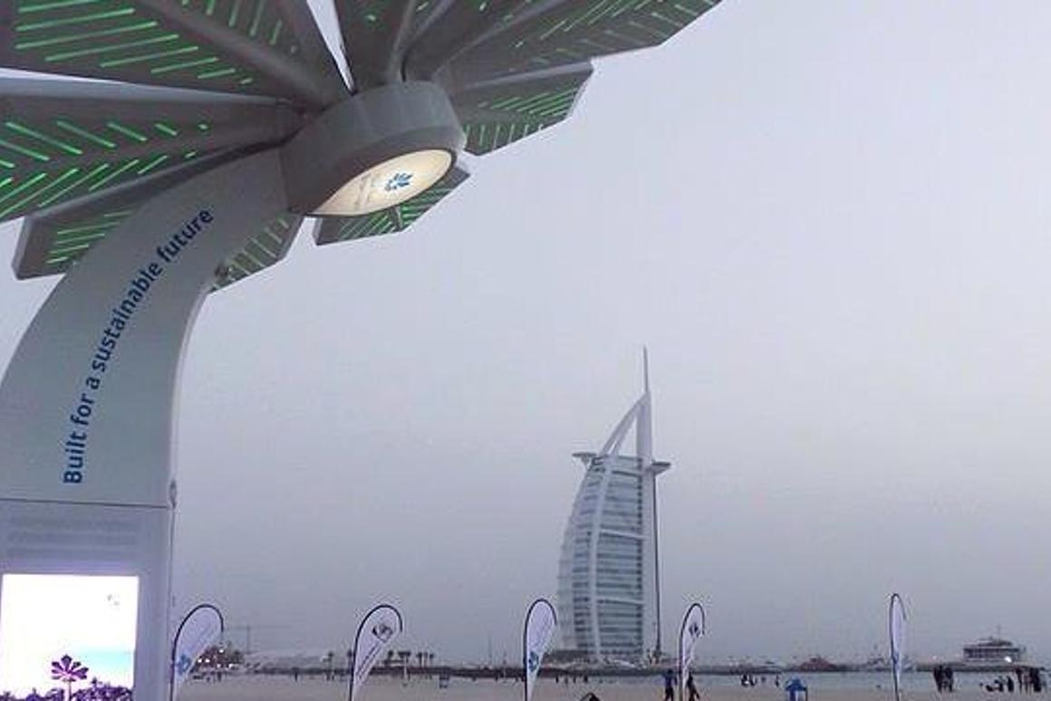 A Smart Palm has been installed on the beach in Dubai near to the Burj Al Arab