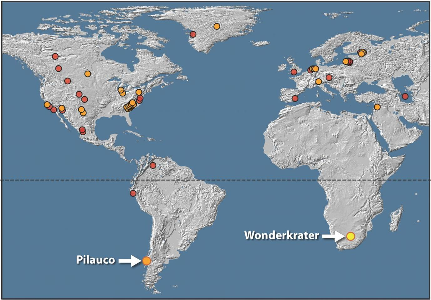 A map of the places where platinum spikes have been found at layers corresponding to the Younger Dryas – including Wonderkrater in South Africa, which is the site of the latest study