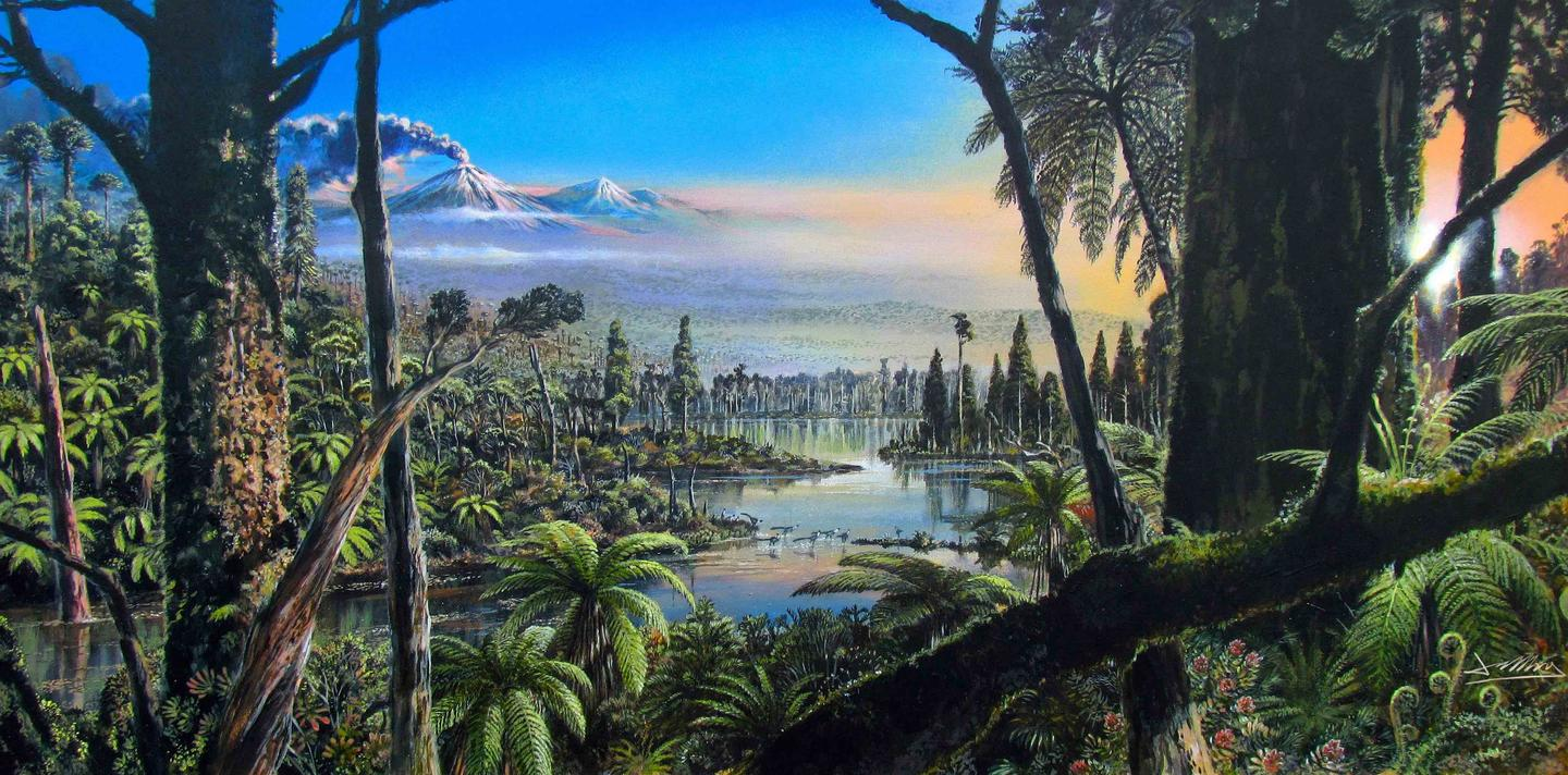 An artist's rendering of West Antarctica, which would have been a swampy forest around 90 million years ago