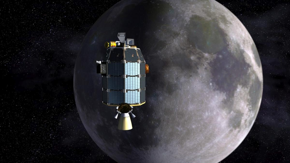 Artist's depiction of LADEE approaching lunar orbit (Image: NASA Ames/Dana Berry)