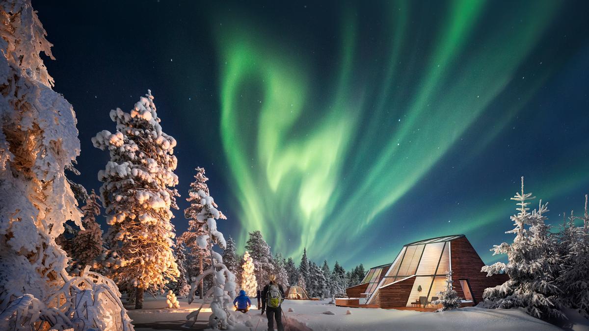 Snowman World Glass Resort, located in Rovaniemi, Lapland, Finlandprovidean ideal spot to catch the aurora borealis