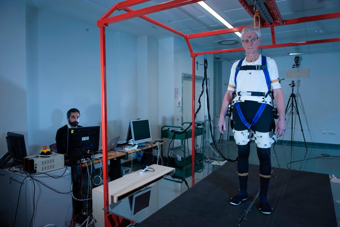 Fulvio Bertelli testing the prototype exoskeleton designed to prevent the elderly from falling