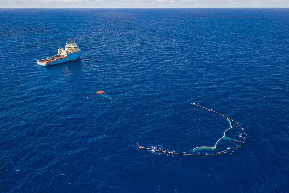 The Great Ocean Cleanup team envisions fleets of its U-shaped barrier drifting through the Great Pacific Garbage Patch eating up plastic waste like a giant Pac-Man