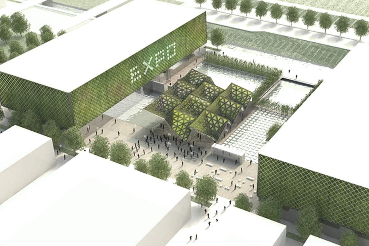The larger bio-digital urban algae canopy planned for Expo Milan 2015.