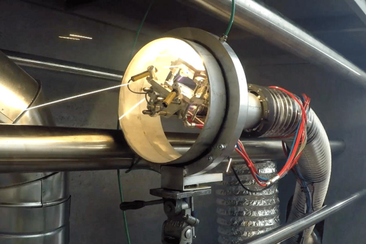 LaserPipe welds inside a pipe using an industrial laser head