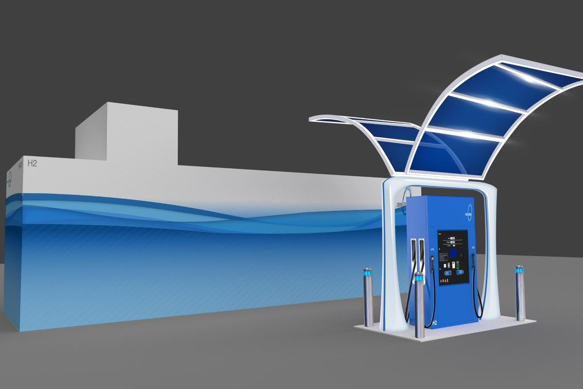 Rendering of First Element Fuel's liquid hydrogen retail fuel pump, showing the pump and storage tank