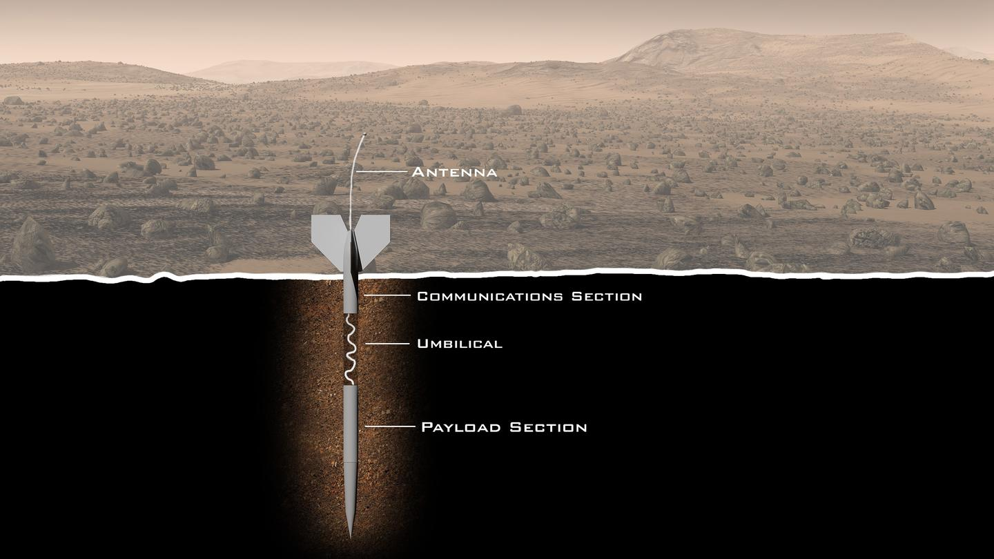 Diagram of the ExoLance penetrator that would search for signs of life below the surface of Mars