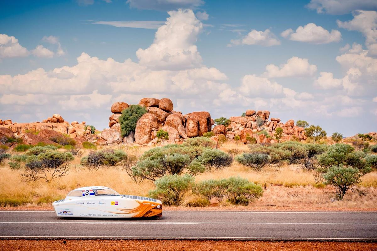 The Nuna 9 solar car in action during the 2017 World Solar Challenge