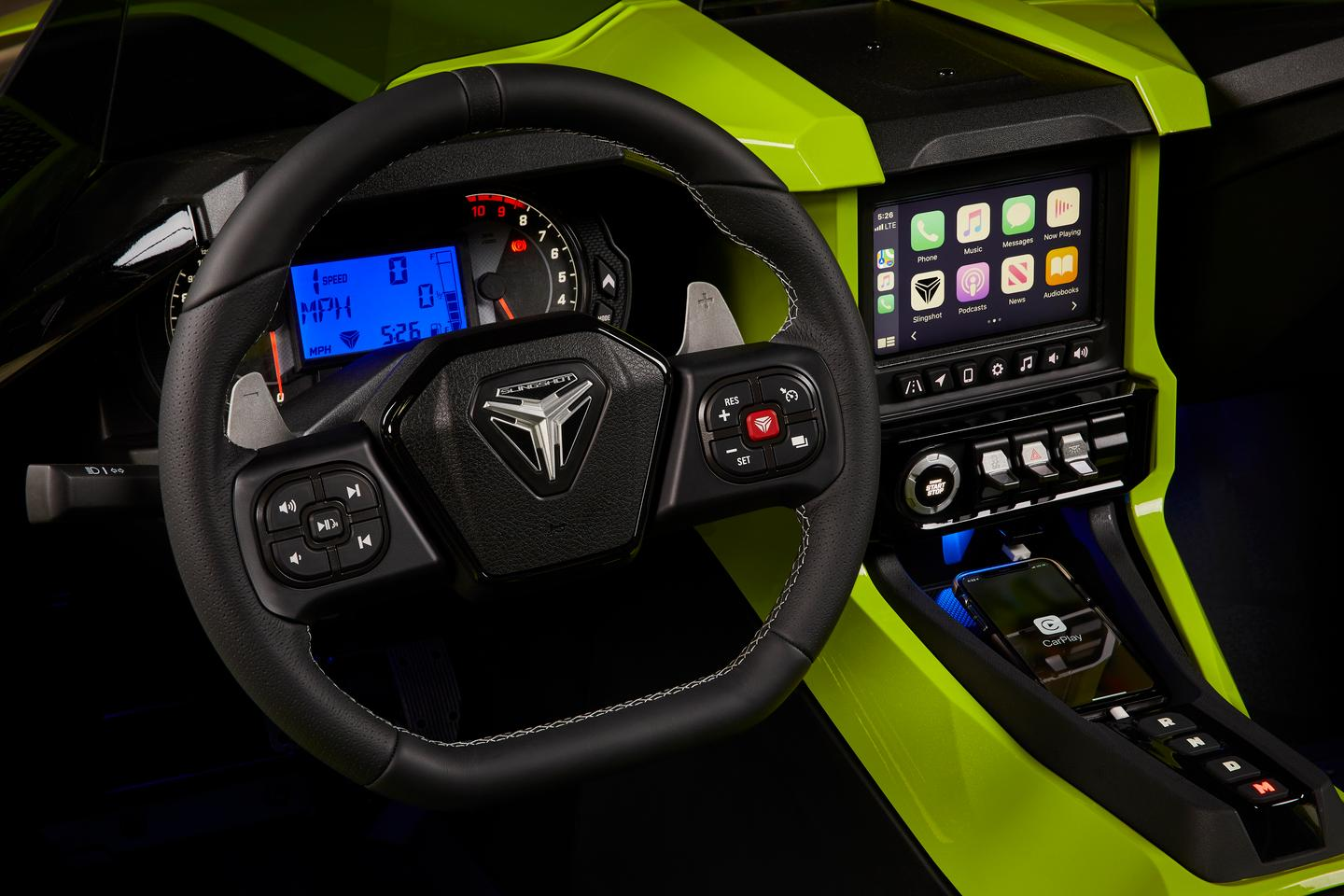 The 2021 Polaris Slingshot gets Apple CarPlay as an option, as well as a Rockford Fosgate stereo option